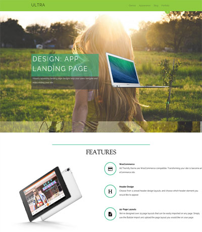 WordPress theme Ultra Version 1.0.4 – New Header Layouts, Landing Pages, and Bug Fixes!
