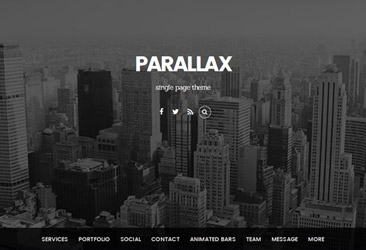 パララックススクロールテーマ。ビジネスやポートフォリオ用でフライアニメーションの単一ページを作成可能。