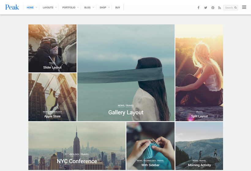 Peak A Modern Grid Based Wordpress Theme