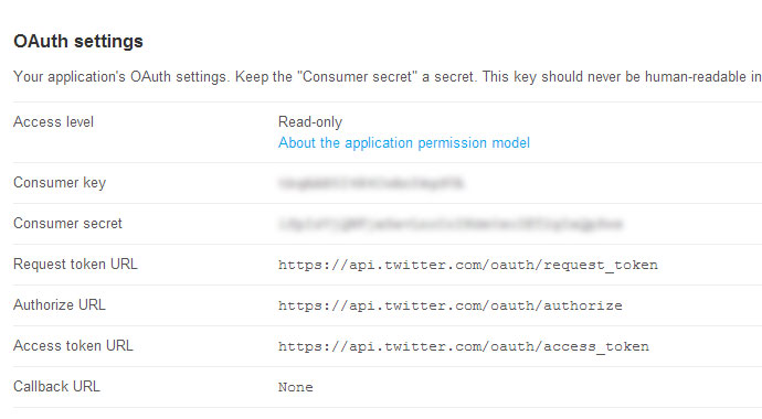 Twitter OAuth settings