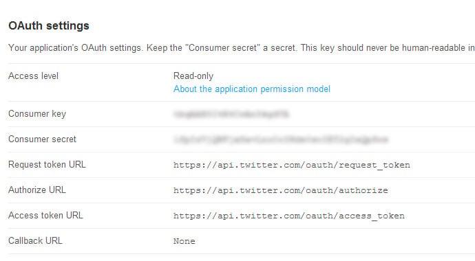 Twitter OAuth settings