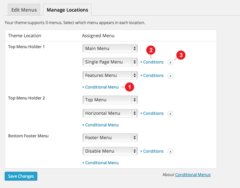 WordPress theme New Free Plugin: Conditional Menus