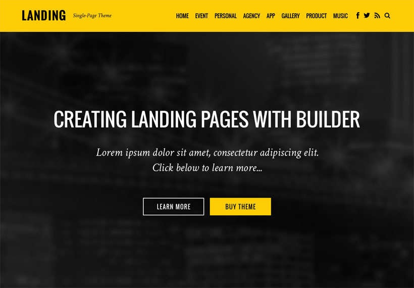 WordPress theme Landing Theme Coming Soon