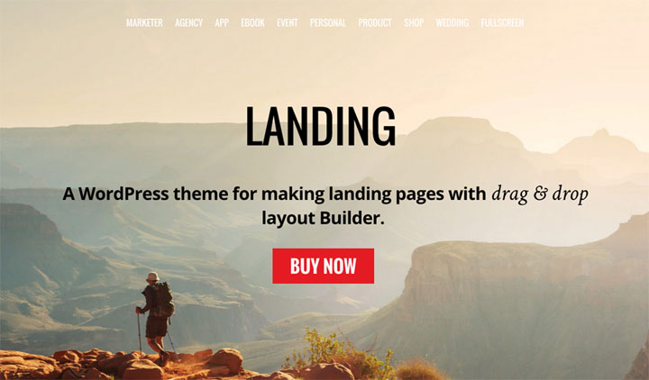WordPress theme New Theme For Building Landing Pages