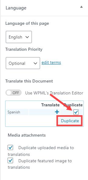 Language Duplicate