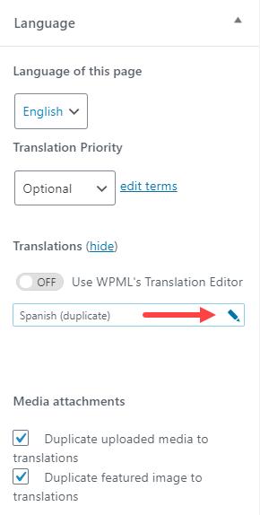 Language Sidebar Edit