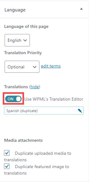 Language Sidebar
