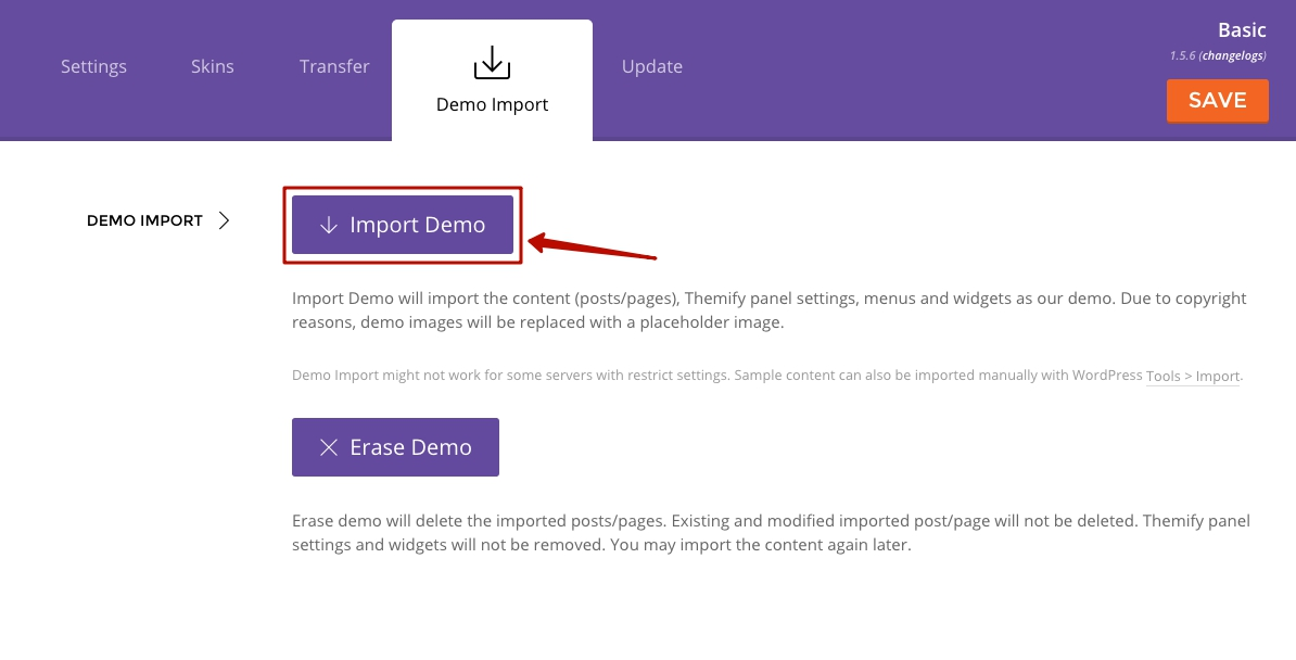 how to import demo content