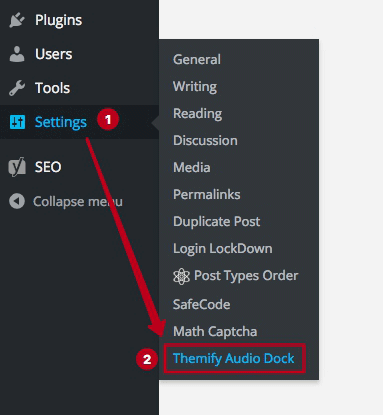 where to find the audio dock settings