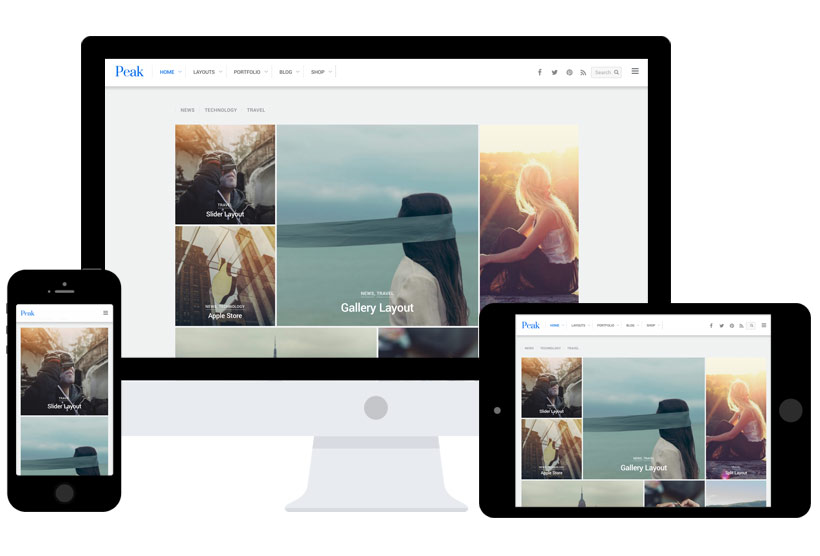 WordPress theme Peak: Modern Tiles Theme