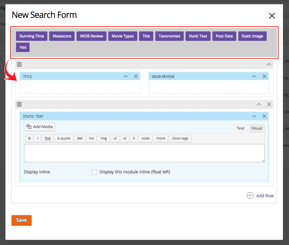 search form backend image template