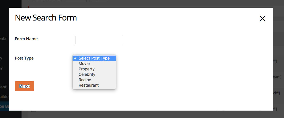 search form backend image preview