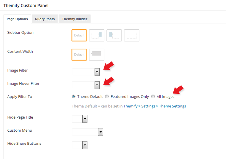 Image filter per post or per page