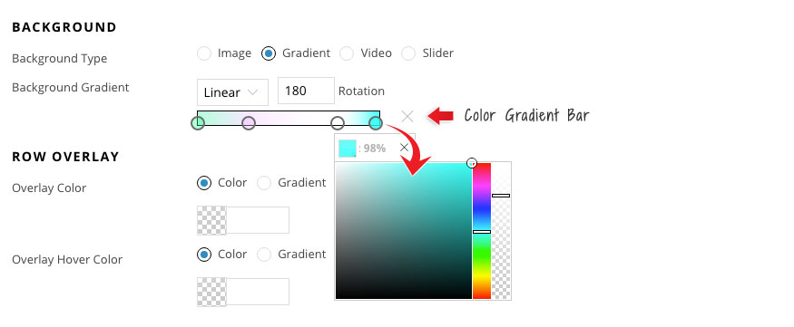 Builder documentation gradient background color bar