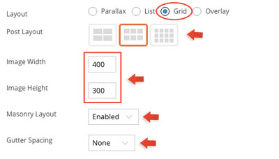 Infinite Post grid and overlay option panel