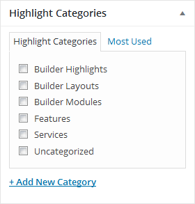Highlight categories screenshot