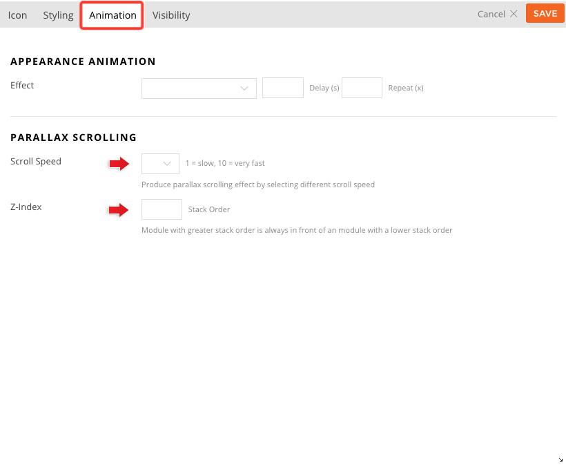 Builder parallax module parallax scrolling feature