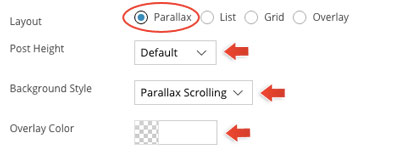 Infinite Post parallax option panel