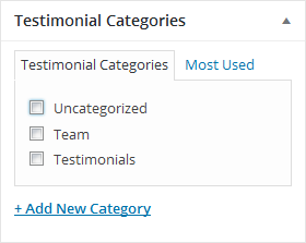 this is testimonial categories screenshot