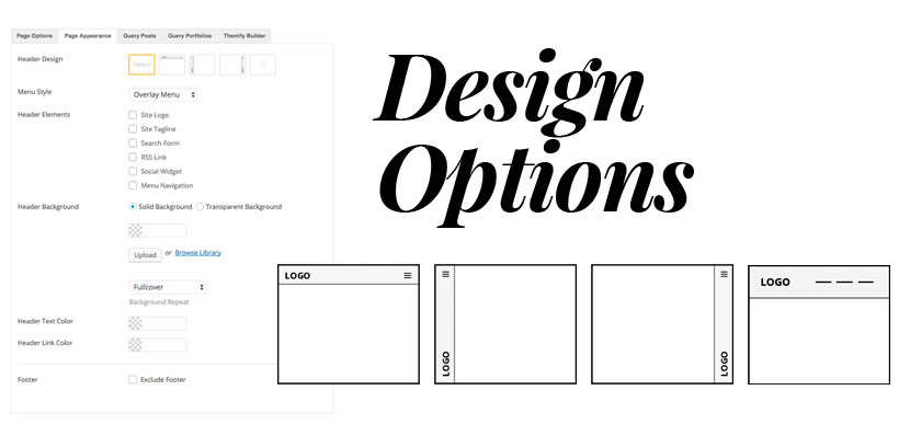 Float themes design option panel. Highlighting the header layouts