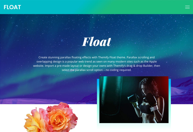 Float The Parallax Overlapping Designed Wordpress Theme