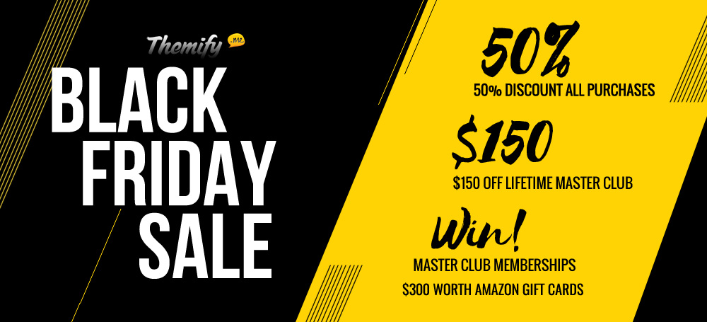 WordPress theme Black Friday 50% Off Sale + $300 Worth Amazon Gift Card & 10 Master Club Giveaway!