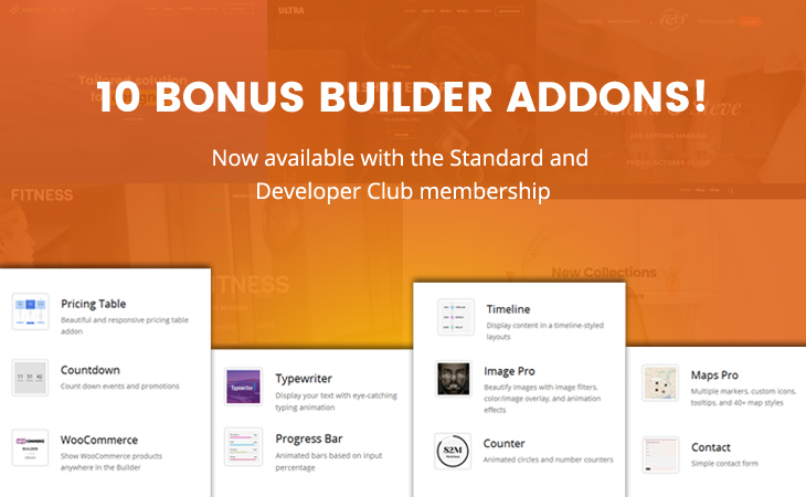 WordPress theme New Bonus Builder Addons for Standard & Developer Club!