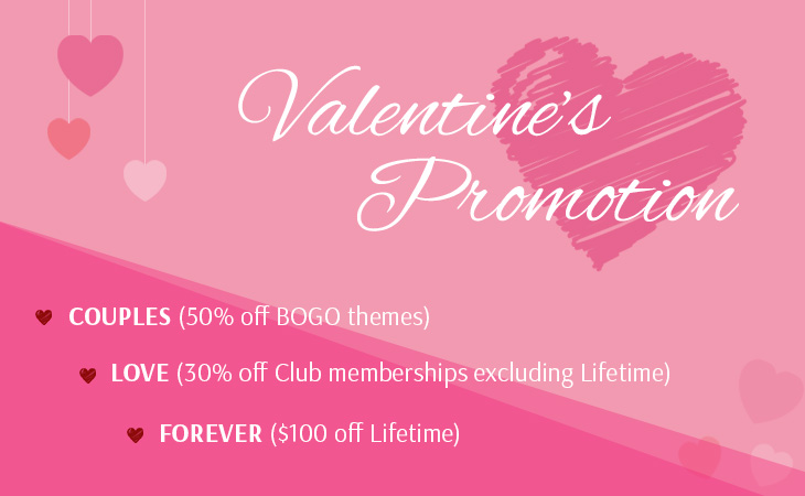 WordPress theme Valentine's Day – Up to 50% Off Sale