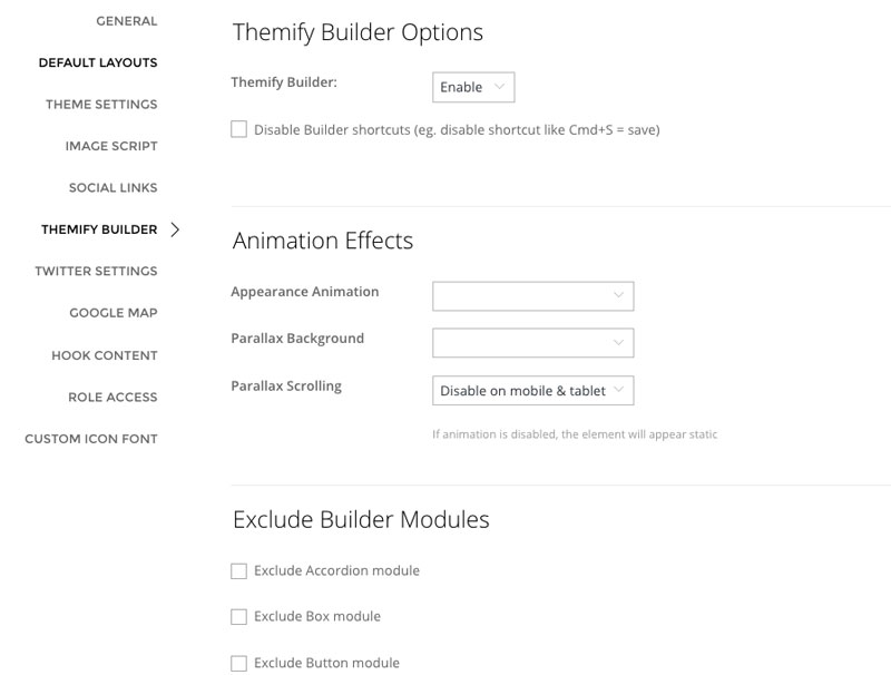 Builder settings options