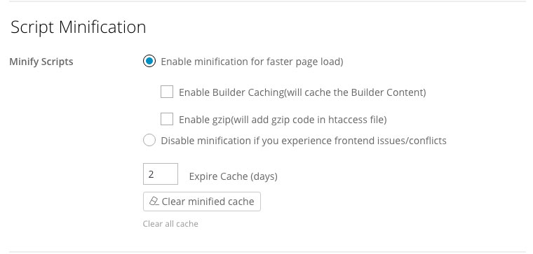 Builder script minification