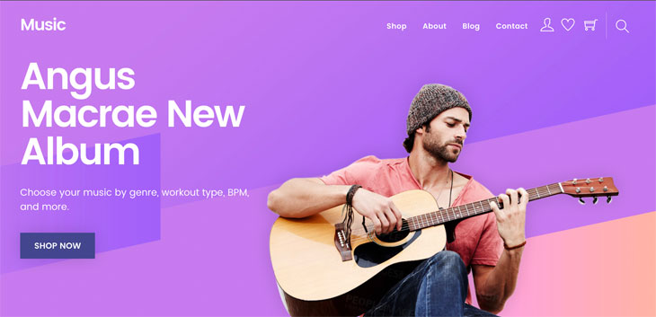 WordPress theme New Music Skin for Themify Shoppe!