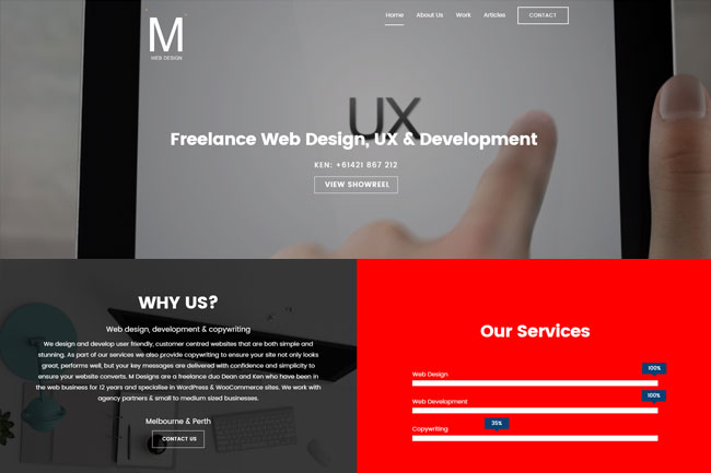M Web design Screenshot