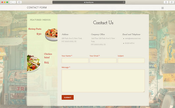 Restaurant Contact form