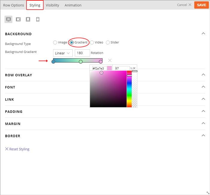 Builder documentation gradient background row option guide