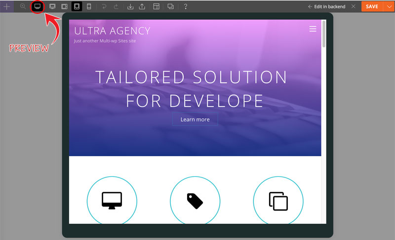 preview responsive styling tablet view