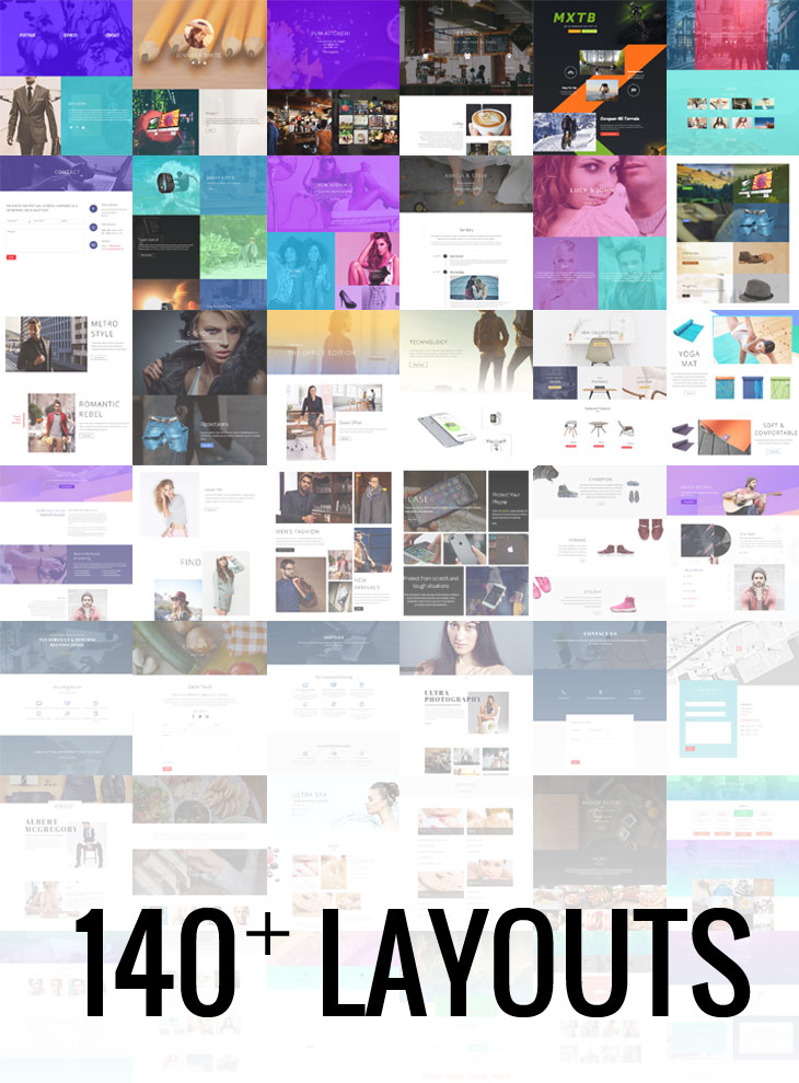 Thumbnails of 140 predesigned layouts