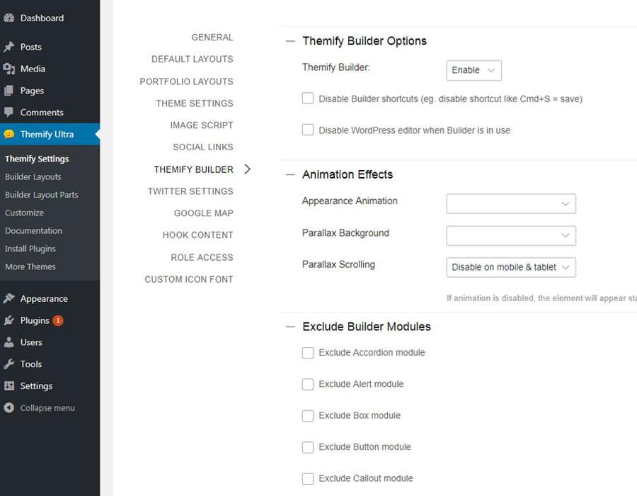 Builder settings options