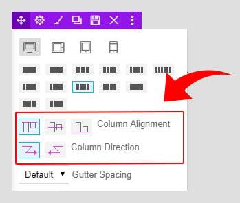 column alignment and direction screenshot