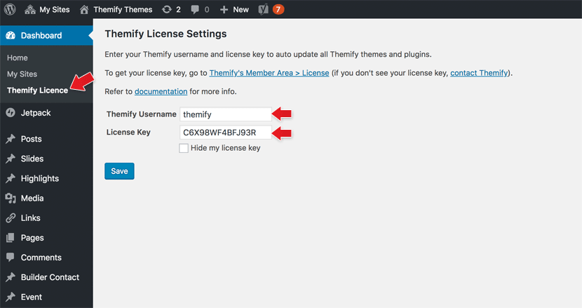Themify Updater license key