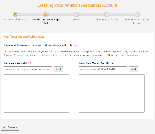 Amazon Affiliate Sign Up Process