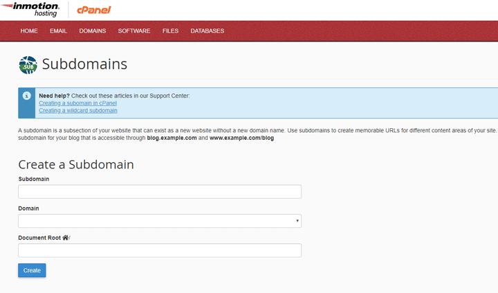 Creating a SubDomain