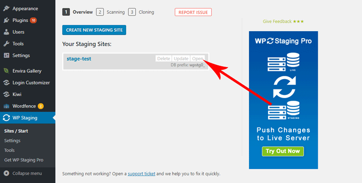 WP Staging open site