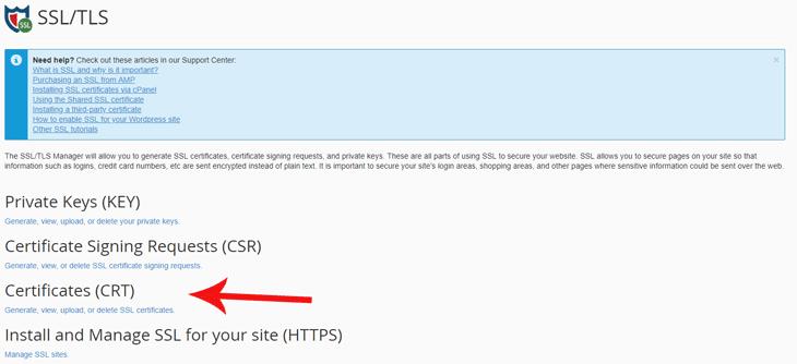 CPanel Certificates
