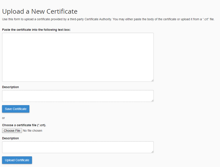 CPanel Certificate selection