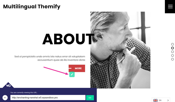 Translate Themify Builder content using Weglot Visual Editor