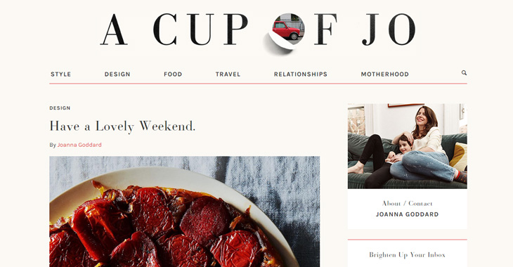 Tutoriel Themify Top 10 des blogs de style de vie Cup of Jo