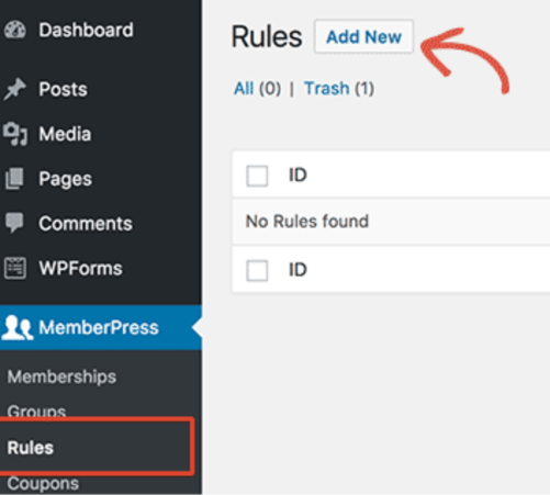 Memberpress WordPress Tutorial Add New Rules