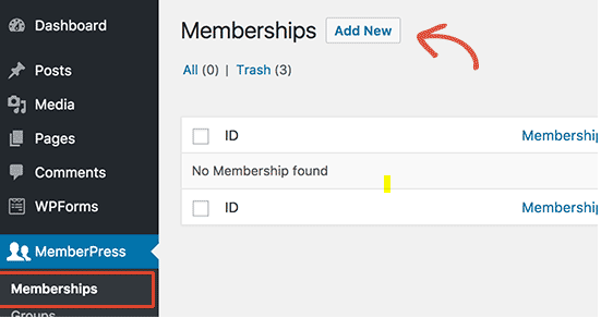 MemberPress WordPress Tutorial Add New