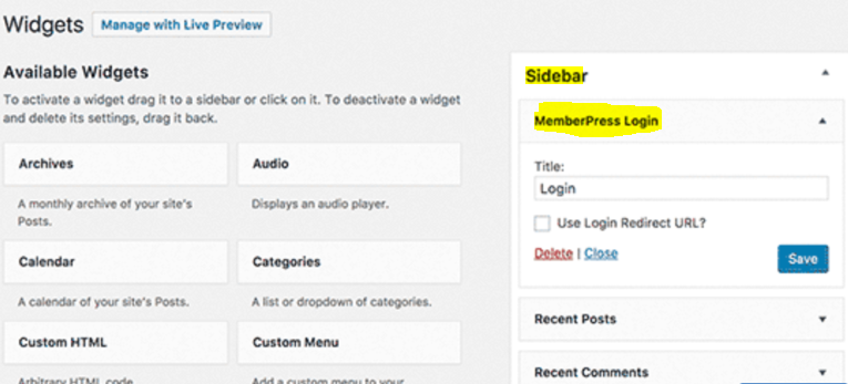 Membership WordPress Tutorial Sidebar Widgets