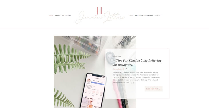 Jennie's Letters Lifestyle Blog Themify screenshot